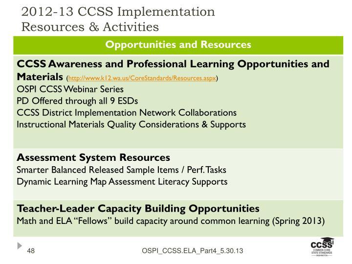 2012-13 CCSS Implementation