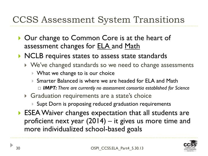 CCSS Assessment System Transitions