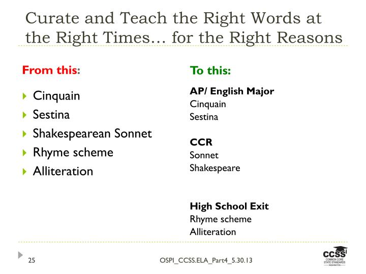 Curate and Teach the Right Words at the Right Times… for the Right Reasons