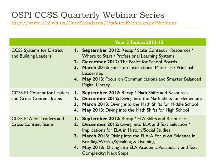 Ospi ccss quarterly webinar series http www k12 wa us corestandards updatesevents aspx webinar