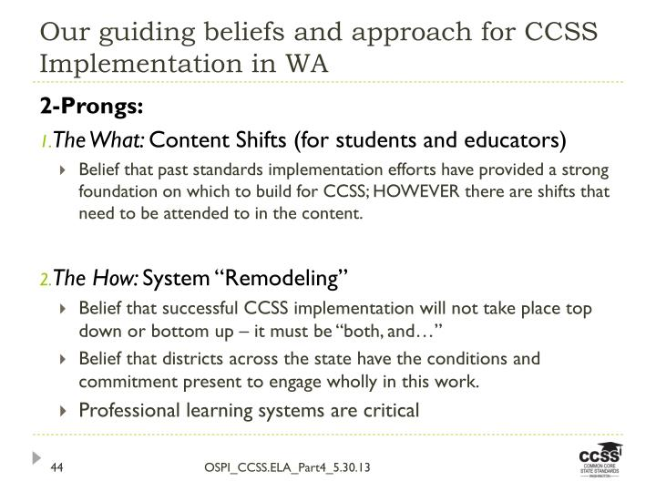 Our guiding beliefs and approach for CCSS Implementation in WA