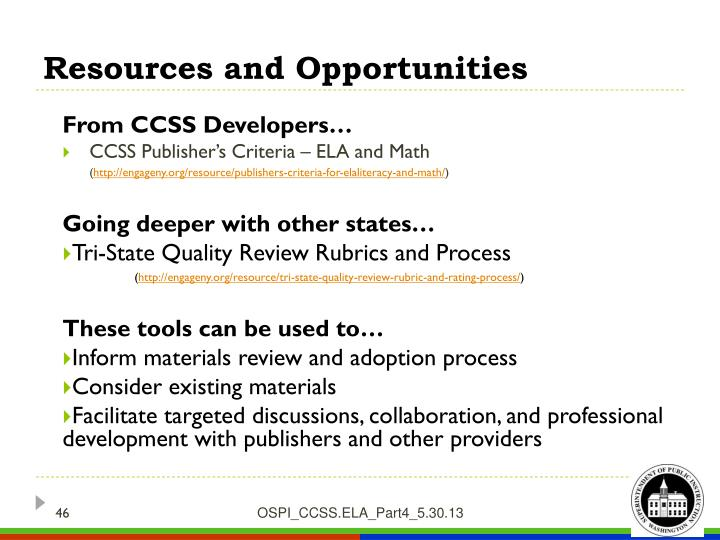 Resources and Opportunities