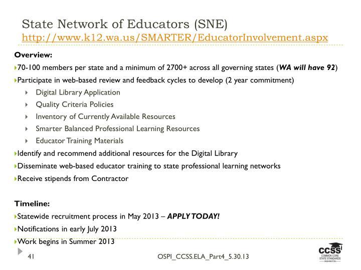 State Network of Educators (SNE)