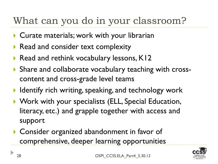 What can you do in your classroom?