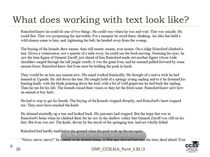 What does working with text look like?