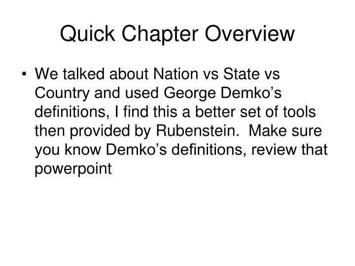 Quick chapter overview
