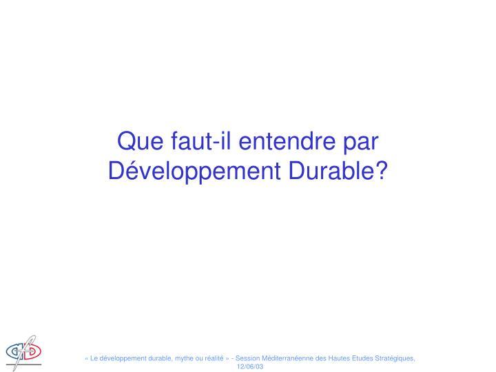 Que faut-il entendre par Développement Durable?