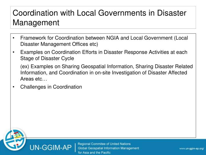 Coordination with Local Governments in Disaster Management