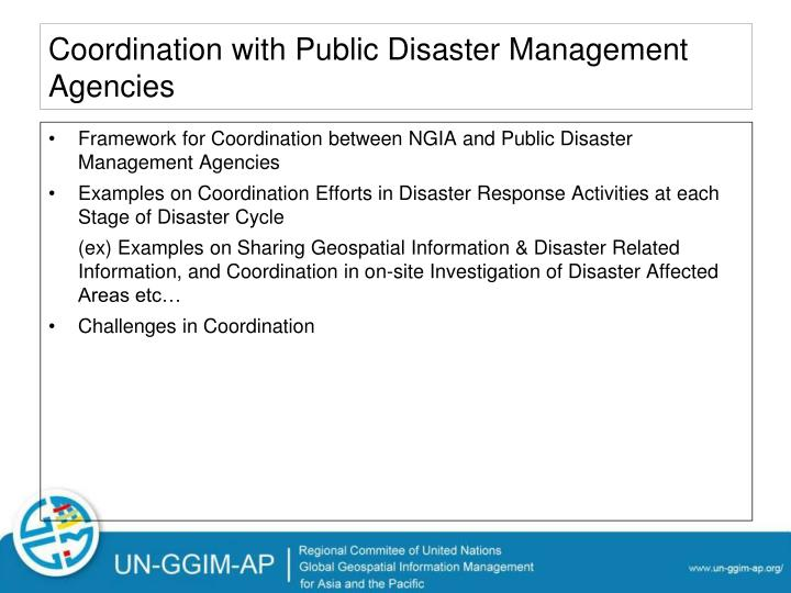 Coordination with Public Disaster Management Agencies
