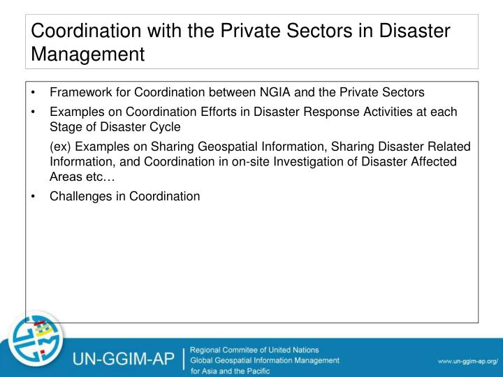 Coordination with the Private Sectors in Disaster Management