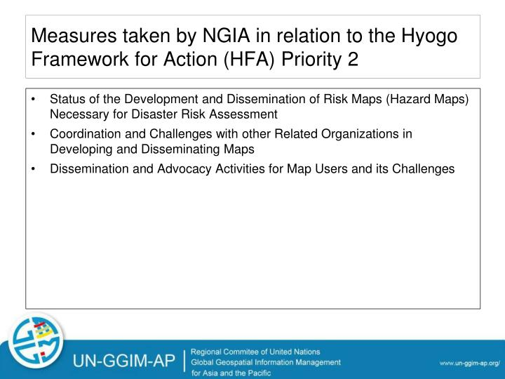 Measures taken by NGIA in relation to the Hyogo Framework for Action (HFA) Priority 2