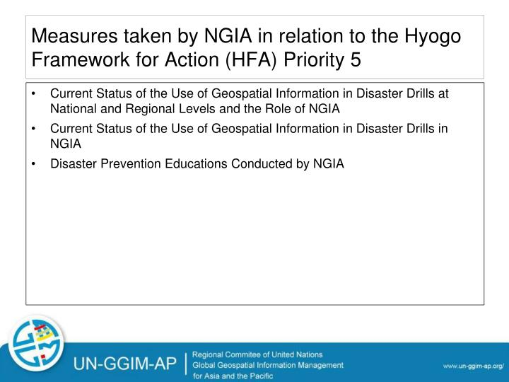 Measures taken by NGIA in relation to the Hyogo Framework for Action (HFA) Priority 5