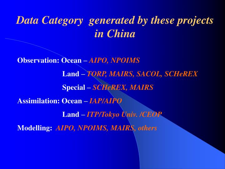 Data Category  generated by these projects  in China
