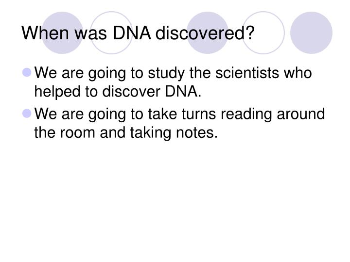 When was DNA discovered?