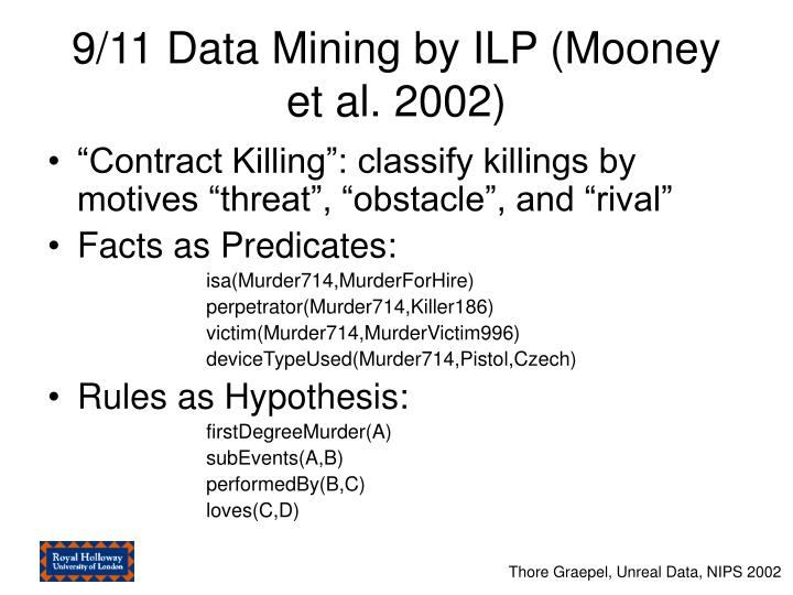 9/11 Data Mining by ILP (Mooney et al. 2002)