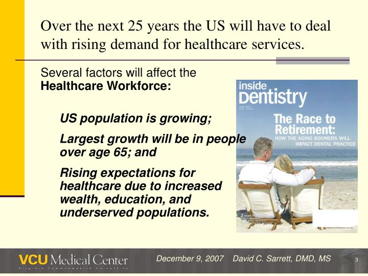 Over the next 25 years the us will have to deal with rising demand for healthcare services