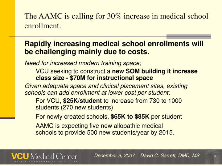 The AAMC is calling for 30% increase in medical school enrollment.