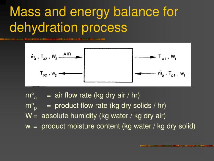 Mass and energy balance for dehydration process