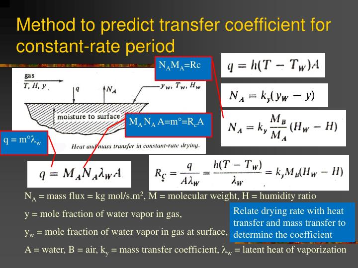 Method to predict transfer coefficient for constant-rate period