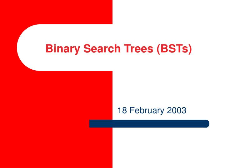 binary search trees bsts n.