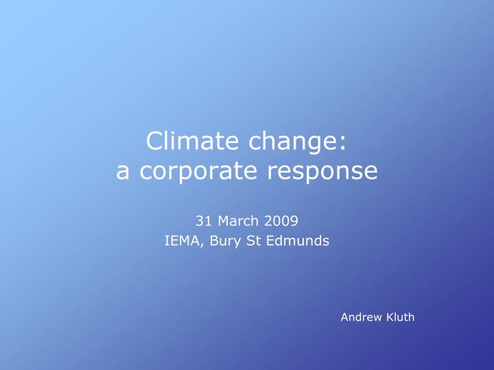 climate change a corporate response n.