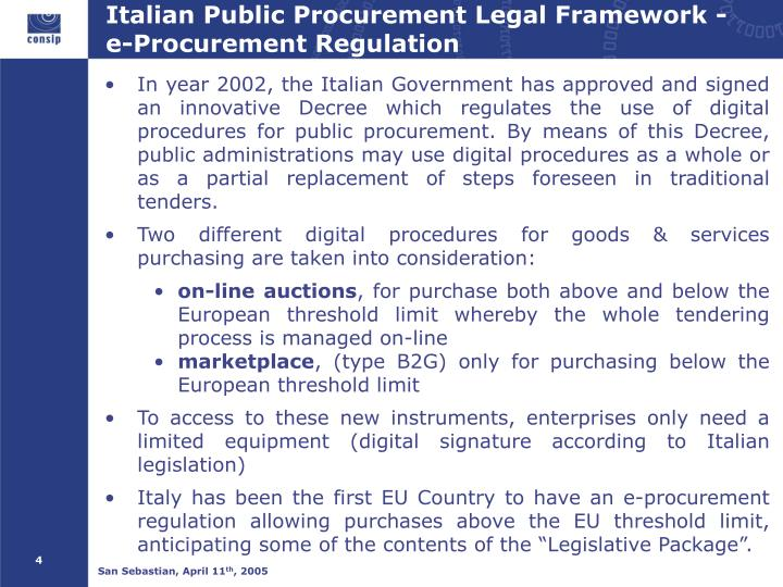 Italian Public Procurement Legal Framework - e-Procurement Regulation