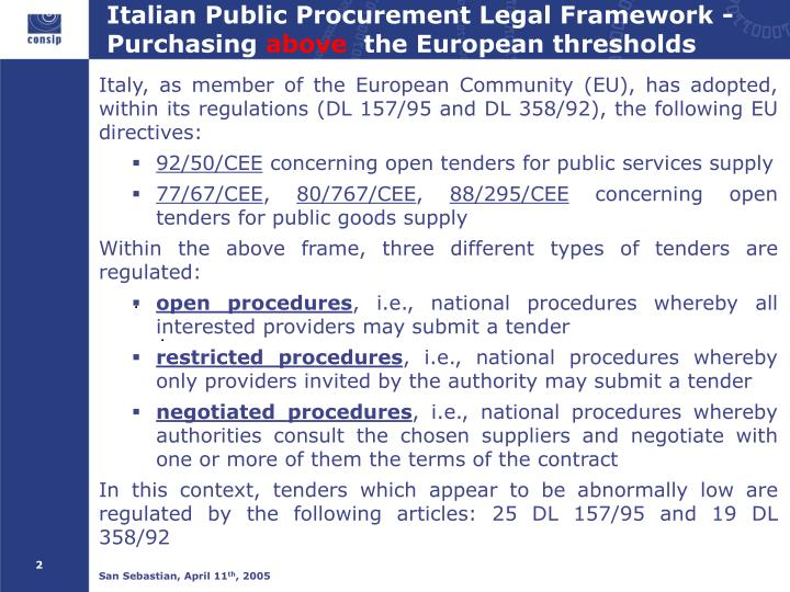 Italian public procurement legal framework purchasing above the european thresholds