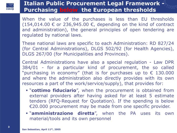 Italian public procurement legal framework purchasing below the european thresholds