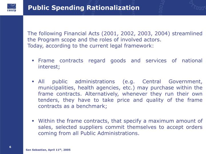 Public Spending Rationalization