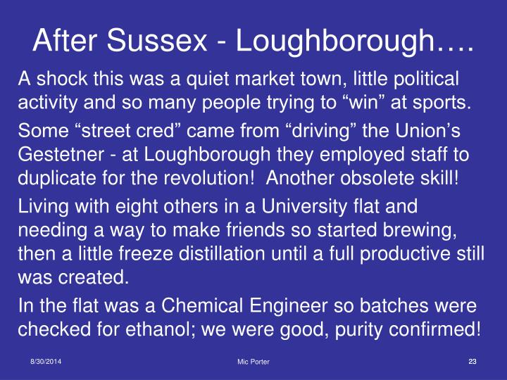 After Sussex - Loughborough….