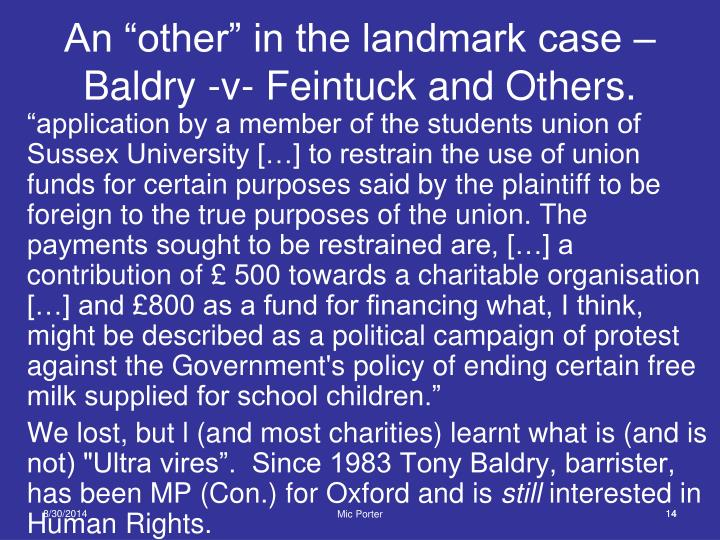 """An """"other"""" in the landmark case –"""