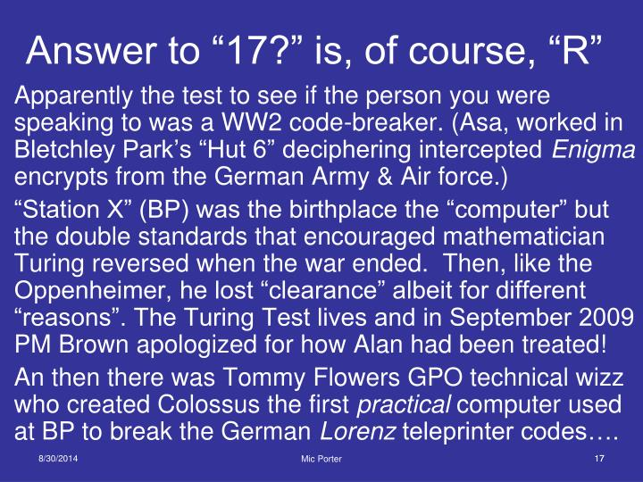 """Answer to """"17?"""" is, of course, """"R"""""""