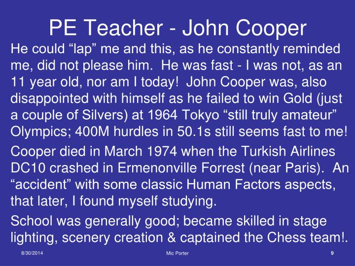 PE Teacher - John Cooper