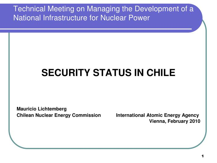technical meeting on managing the development of a national infrastructure for nuclear power n.