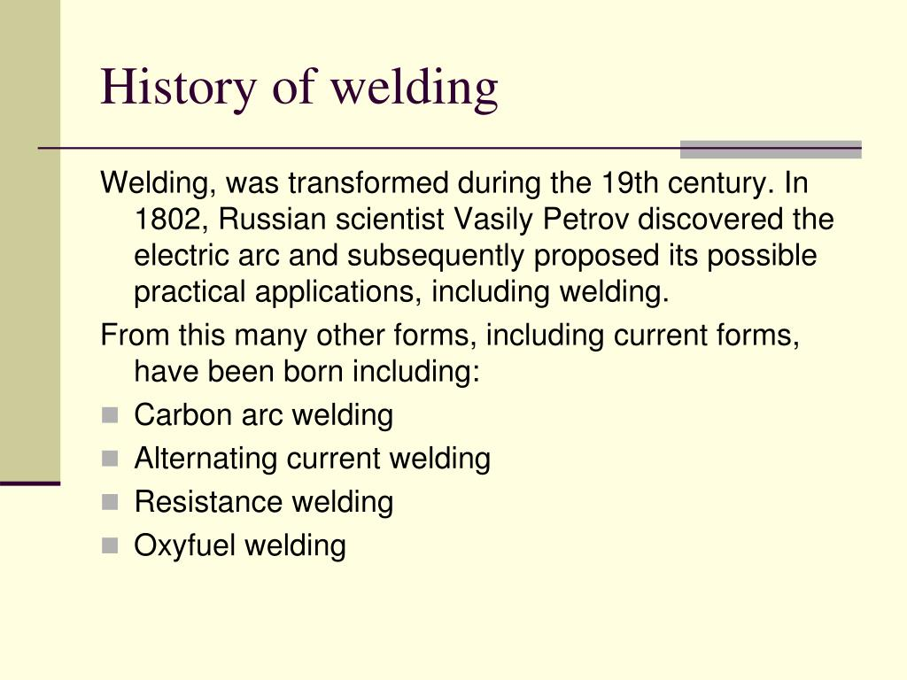PPT - History of Welding PowerPoint Presentation - ID:3698020