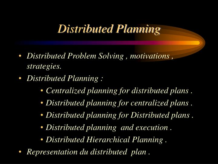 distributed planning n.