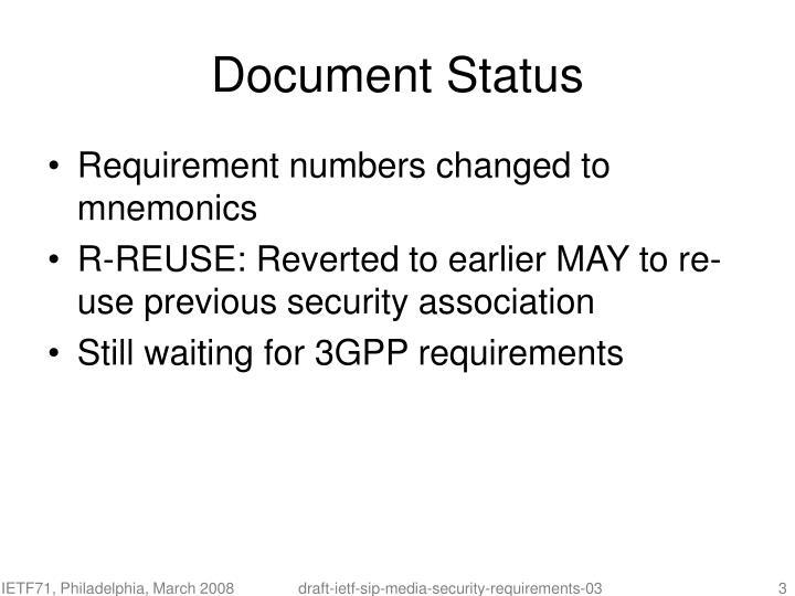 Document status