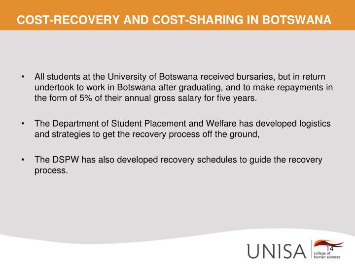 COST-RECOVERY AND COST-SHARING IN BOTSWANA