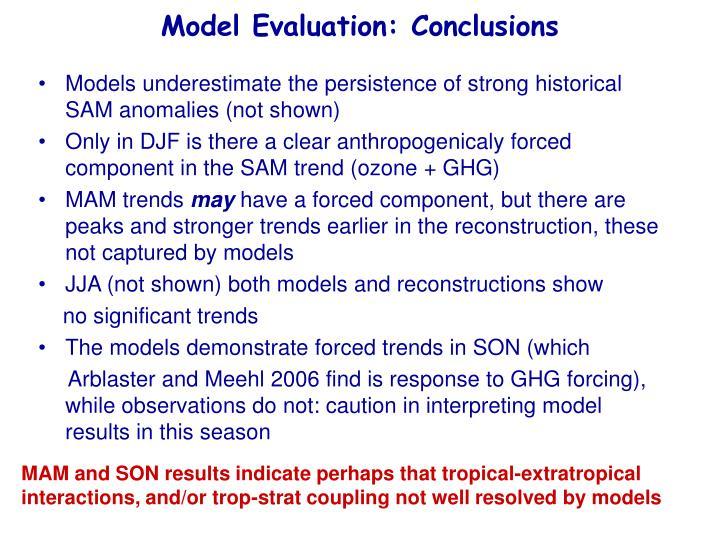 Model Evaluation: Conclusions