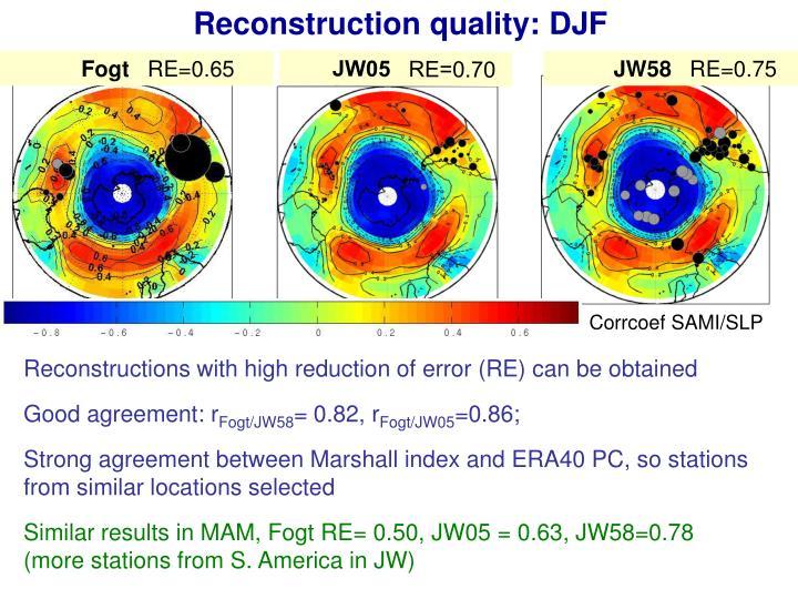 Reconstruction quality: DJF