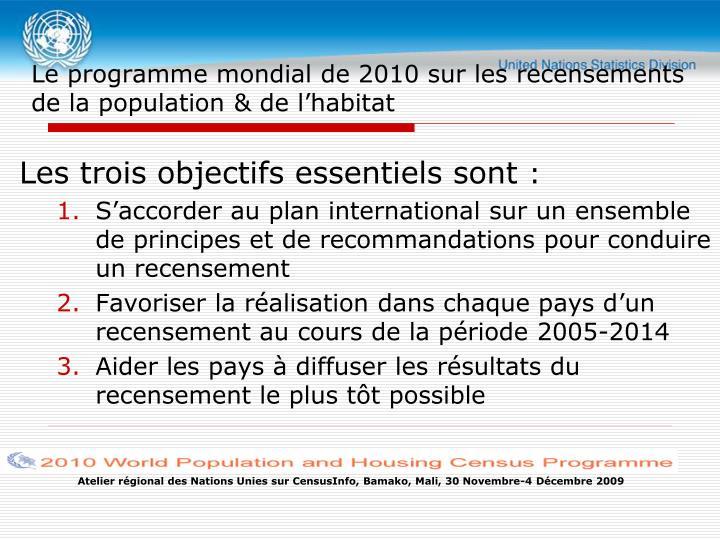 Le programme mondial de 2010 sur les recensements de la population de l habitat1