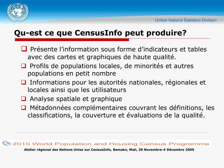 Qu-est ce que CensusInfo peut produire?