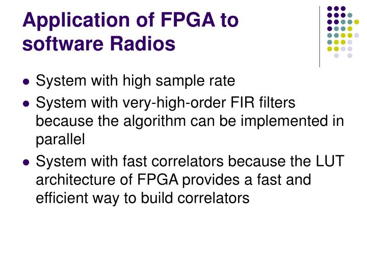 Application of FPGA to software Radios