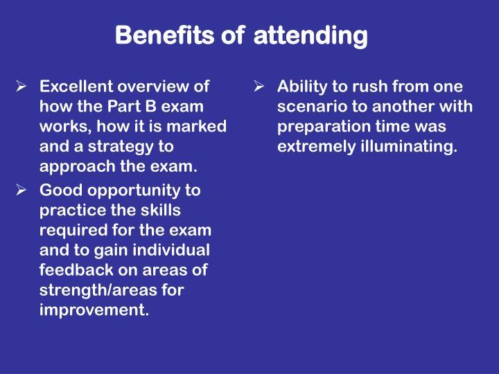 Benefits of attending