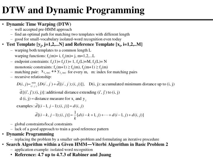 DTW and Dynamic Programming