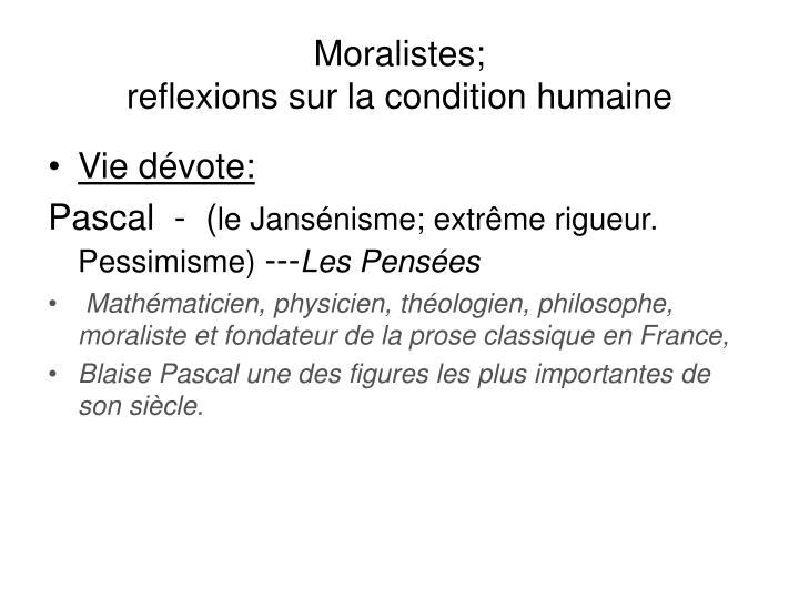 Moralistes;