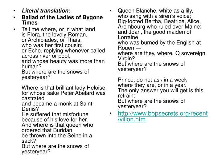Literal translation: