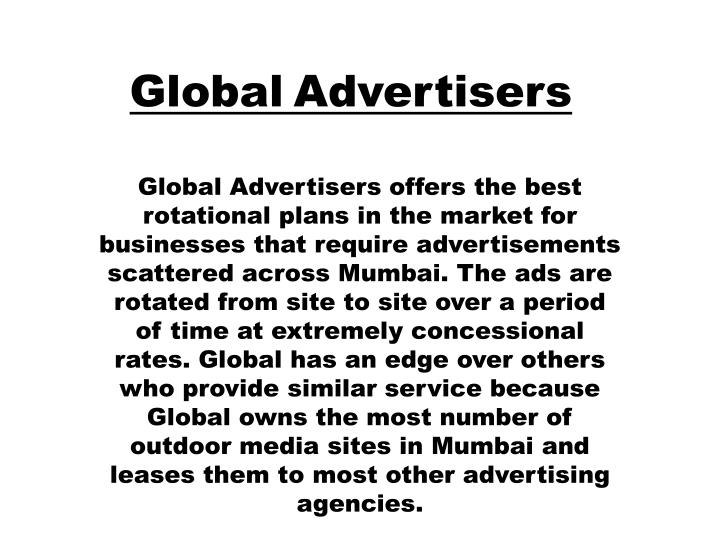 global advertising ppt Adapt your creative vision for any global market with transperfect's global advertising and marketing solutions and dedicated multicultural marketing team.