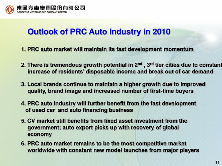 Outlook of PRC Auto Industry in 2010