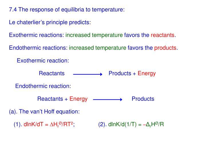 7.4 The response of equilibria to temperature: